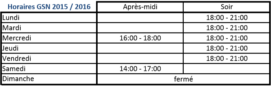 horaire 20152016